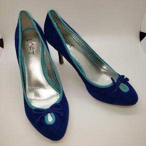 LOFT Camdyn Blue Faux Suede Heels, size 8